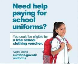 Cumbria County Council is urging parents of children beginning or returning to school in September to apply for school clothing vouchers and free scho